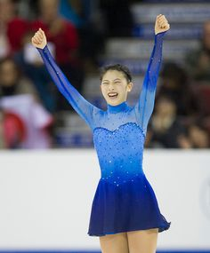 Yuka Nagai of Japan reacts after finishing her skate in the Ladies Free Skate on day two of Skate Canada International ISU Grand Prix of Figure...