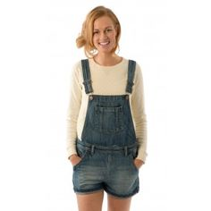 USKEES ANNA Relaxed Fit Vintage Wash Denim Dungaree Shorts