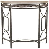 "Found it at Wayfair - Paris Console Table, $100. SKU #: FV20796, 33"" wide; for niche area. copper color"