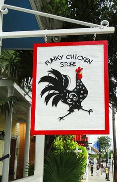 The Funky Chicken Store A chicken themed shopping experience located at 814 Duval Street, Key West, FL.  You will find all your chicken/rooster art and home good needs in a fun and lively space.