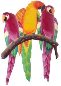 """Parrot Wall Hanging - Hand Painted Metal - Tropical Home Decor - 24"""" x 16"""""""