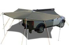 Fits the VW Eurovan Camper for a walk-around like patio. So much better than the conventional awnings that just pull out from the side. This awning will mount to any vehicle with a roof rack, so no extra drilling! Camper Caravan, Diy Camper, Campers, Vw Eurovan Camper, Defender 130, Off Road Camper, Roof Rack, Ping Pong Table, 4x4
