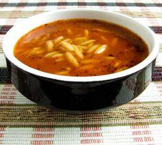 Orzo soup with tomato sauce | giverecipe.com | #soup #orzo