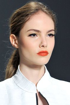 Simple daily orange lips makeup for fair skin