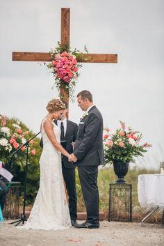 wood cross wedding backdrop