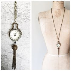 "s a l e > steampunk watch necklace JUST REDUCED from $48. This necklace was created with a nod to the ever-influential Steampunk design movement. At the heart of this piece is a glass globe with a functional quartz timepiece on one side & the inner workings visible on the other. Measures: hang length | 20-22"" chain length 