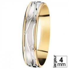 Alliance de mariage Or blanc et Or jaune - 07030971B