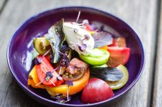 """Heirloom tomato, leek & """"our own"""" goats curd cheese."""