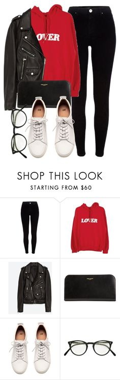 """Untitled #6791"" by laurenmboot ❤ liked on Polyvore featuring River Island, Bianca Chandôn, Jakke, Yves Saint Laurent, H&M and Oliver Peoples"