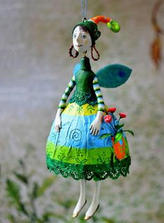 Tatiana Gluhova - Flower Fairy, made of air drying light clay, painted with acrylics and sealed with matte varnish