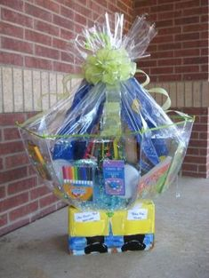 """Gift Basket Ideas For Silent Auctions silent auction ideas Class Basket """"Rainy Day"""" School Auction Baskets, Silent Auction Baskets, Fundraiser Baskets, Raffle Baskets, Theme Baskets, Themed Gift Baskets, Chinese Auction, Just In Case, Just For You"""
