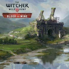 The Witcher Wild Hunt - Blood & Wine Concept Art by Andrzej Dybowski pics) The Witcher Wild Hunt, The Witcher Game, The Witcher Books, Witcher Art, Concept Art World, Game Concept Art, Environment Concept Art, Environment Design, Fantasy Landscape