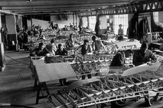 Factory workers assembling the wing elements of Hawker Hurricane aeroplanes. Factory Worker, Hawker Hurricane, The Blitz, Battle Of Britain, Ww2 Aircraft, Aeroplanes, Metal Work, World War Two, First World