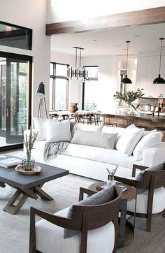 Home Living, My Living Room, Living Room Interior, Living Room Furniture, Living Room Decor, White Furniture, Modern Living, Living Area, Kitchen Furniture