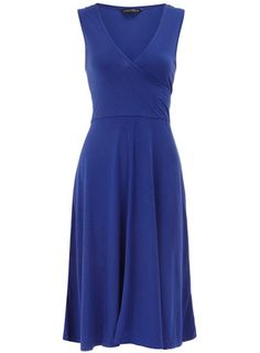 Blue sleeveless wrap dress- New purchase & very cute for the summer!