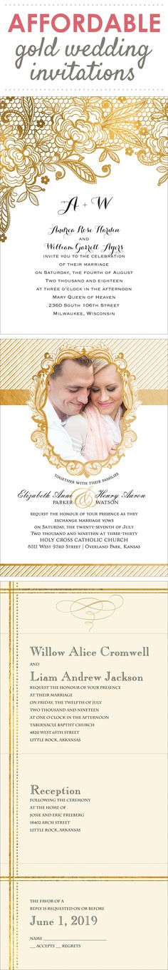 Invite with this season's best and brightest color trend #gold @annsbargains  @annsbargains #wedding #invitations