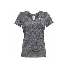 Under Armour V-neck Twisted Tech T-shirt (30 CAD) ❤ liked on Polyvore featuring activewear, activewear tops, under armour and under armour sportswear