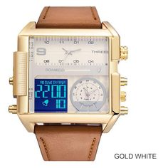 🥇Buy Watches ✅ Men s watch Three Zone Electronic Fashion Square 30 Meters Waterproof Week Code Table Month Calendar Waterproof Smart Watch ~ smart watch sport watch Gadget Watches, Men's Watches, Watches Online, Fashion Watches, Waterproof Sports Watch, Led Watch, Mens Sport Watches, Big Men Fashion, Fashion Tips