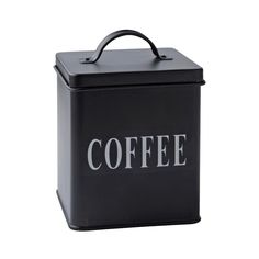 Coffee fekete fémdoboz, l - KJ Collection Dose, Black Coffee, Collection, Home Decor, Material, Vanilla, Garden, Beautiful Homes, Sheet Metal