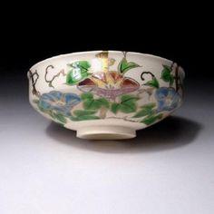 LF6-Japanese-Tea-Bowl-Kyo-ware-by-Famous-potter-Jyuraku-Kudo-Morning-Glory about 20 years ago.