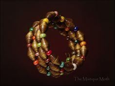 Paper bead bracelet by TheMistiqueMoth on Etsy, $18.00