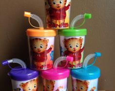Daniel Tiger Neighborhood Personalized Birthday Party Favor Cups Set of 6 Third Birthday, 3rd Birthday Parties, Birthday Party Favors, Baby Birthday, Birthday Ideas, Daniel Tiger Party, Daniel Tiger Birthday, Daniel Tiger Cake, Neighborhood Party