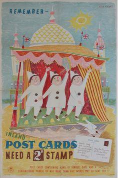 Quad Royal - British post war posters and graphics. Collage Illustration, Illustrations, J Names, General Post Office, Office Art, Postage Stamps, Vintage Posters, Hand Lettering, War
