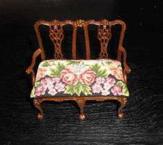 Dollhouse Miniature Settee with Needlepoint