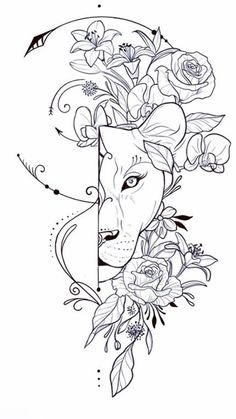 Lion Tattoo With Flowers, Lion Flower, Small Lotus Flower Tattoo, Flower Tattoos, Mommy Tattoos, Mother Tattoos, Future Tattoos, Lion Tattoo Sleeves, Sleeve Tattoos