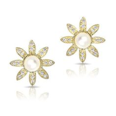 14KT Yellow Gold Pearl And Diamond Daisy Stud Earrings ($350) ❤ liked on Polyvore featuring jewelry, earrings, diamond jewelry, diamond earrings, daisy earrings, gold stud earrings and white gold pearl earrings