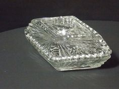 Your place to buy and sell all things handmade Vanity Box, Glass Vanity, Cut Glass, Clear Glass, Diamond Shapes, Diamond Cuts, Etsy Vintage, Vintage Items, Glass Boxes