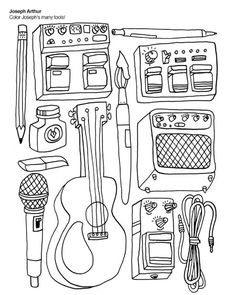 The Indie Rock Coloring Book /// http://www.alterexa.com/2012/03/the-indie-rock-coloring-book-yellow-bird-project/