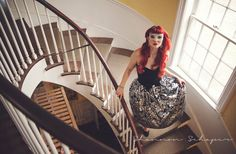 Photography by Shannon Schaper for the Paper Doll Vintage Boutique Winter 2015 Lookbook #commercial #editorial #fashion #photography #photographer #longisland #ny #paperdollvintage #vintage #clothing #redhead #pinup #80s #style #ballgown #1980s #masquerade #mask #rhinestone #velvet