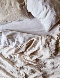 Two-Tone Linen Duvet, Chalk/White