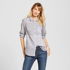 The Women's Stripe Favorite Shirt in Black by Merona™ gives a classic cut a fresh approach. This women's button front long-sleeve shirt feels like an old friend with familiar style.