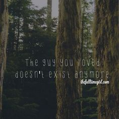 . That guy you loved. He doesn't exist anymore.