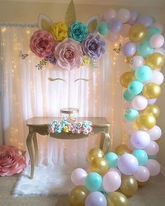 Unicorn birthday party decorations - Insanely Cute Unicorn Party Ideas to Help You Create Your Kid's Most Memorable Birthday – Unicorn birthday party decorations Unicorn Themed Birthday Party, First Birthday Parties, Birthday Party Decorations, Girl Birthday, Birthday Backdrop, Birthday Table, 7th Birthday Party For Girls Themes, Flower Birthday, Table Decorations