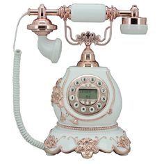 Antique White Pink Flower Fashion Cord Phone Retro Vintage Home Desk Telephone
