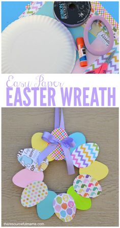 This is an easy paper Easter wreath that kids and adults will enjoy.