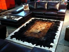 Patchwork Rug Cowhide Cow Hide Skin Carpet Leather.