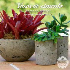 Como fazer vasos de cimento - Passo a passo com fotos - How to make cement vases - DIY tutorial - Madame Criativa - www.madamecriativa.com....