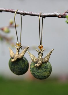 Antique bronze swallow bird and African Turquoise earrings by tortugasdesign on Etsy, $14.95