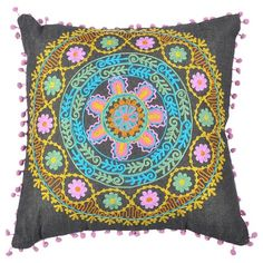I pinned this Asha Pillow from the Karma Living event at Joss and Main!  Background is denim!  Interesting.  Love the patterns and the embroidery.