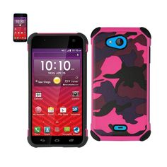 Reiko Design Hybrid Leather Protector Cover Kyocera Hydro Wave/ Hydro Air/ C6740 With Camouflage Design Army Pink