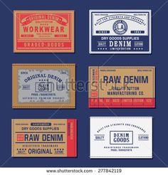 Vintage denim labels typography, t-shirt graphics, vectors