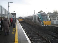 Waterford Train leaving Platform 1, Dublin Heuston Train Arriving Platform 2, Athy Railway Station.