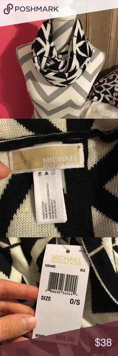 Michael Kors Black & White Infinity Scarf Brand new condition. Still have tags attached. Bought from a lady on posh, but it's too small for me. Material is 100% Acrylic. | this is adorable, wish it fit like I wanted. | bundle 2 or more items & save 20%. Michael Kors Accessories Scarves & Wraps