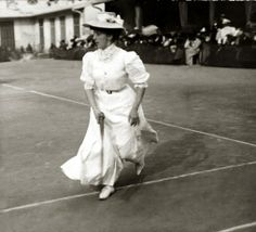 TENNIS: 1900s - Not so much as an ankle in sight, the ladies who played tennis at the turn of the century were cinched in corsets and belts, and covered up in floor-grazing skirts, hats and long sleeves.