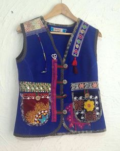 saks blue handmade vest – my site Diy Fashion, Womens Fashion, Sewing Clothes, Refashion, Wearable Art, Fabric, How To Wear, Jackets, Outfits