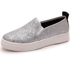 2017 Spring Women shoes British Style Set foot Loafer shallow Round Silver Sequins Flat Slip-on Casual Women's shoes